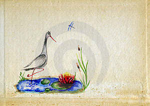 Baby Drawing Stork Stock Photos - Image: 18054413