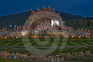 Northern Thai Style Architecture At Night. Stock Photography - Image: 18055632