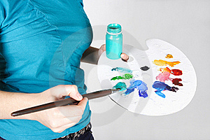 Closeup Of Woman Mixing Paint On Palette Royalty Free Stock Images - Image: 18056319