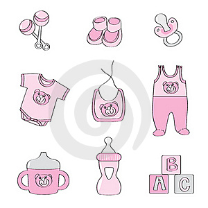 Set Of Baby Elements - Pink Color For Girls Royalty Free Stock Images - Image: 18056859