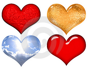 Set Of Red,gold,silver And Glass Valentine Hearts Stock Photography - Image: 18057222