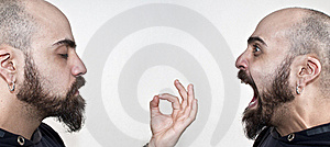 Man With Beard In Meditation And Man Yelling Stock Photography - Image: 18057582