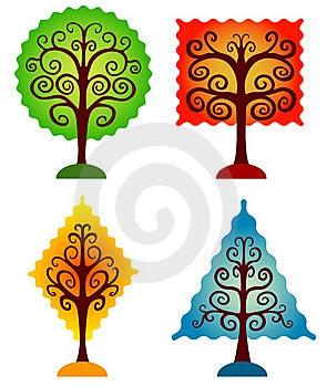 Set Of Geometrical Trees. Stock Photography - Image: 18058092