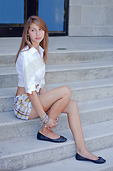 Girl Sitting On The Steps Stock Image - Image: 18060761
