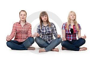 Three Girls Sitting In Lotus Posture Stock Photography - Image: 18062222
