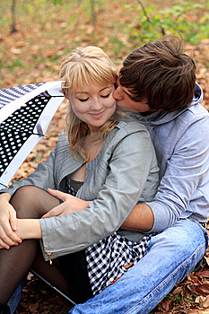 Young Cheerful Couple In The Park Stock Photos - Image: 18070113