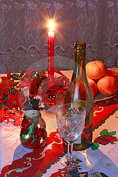 New Year's Setting With Wine, Glass, Tangerines Stock Images - Image: 18075974