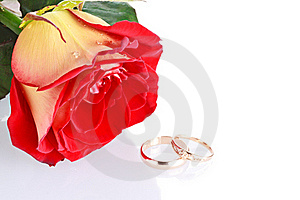 Two Wedding Rings With A Rose As Wedding Concept Stock Photos - Image: 18076003