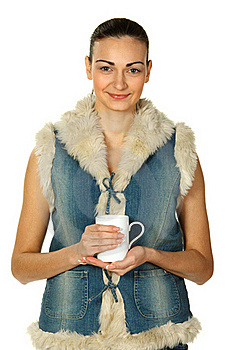 Portrait Of Female In Denim Holding Tea Cup Royalty Free Stock Image - Image: 18077196