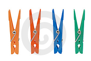 Four Colored Clothespin Isolated On White Royalty Free Stock Photography - Image: 18077747
