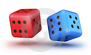 Dice Red And Blue Stock Image - Image: 18077871