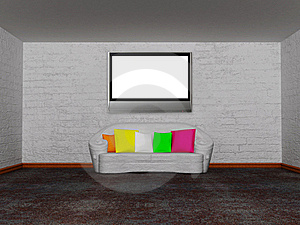 Room With White Couch And Lcd Tv Royalty Free Stock Image - Image: 18081546