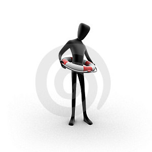 3d Human Holding A Life Buoy Around His Hips Stock Photos - Image: 18082033