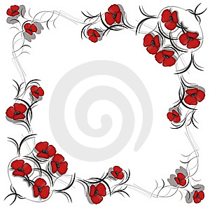 Background With Pattern Of Red Flowers Royalty Free Stock Photography - Image: 18086477