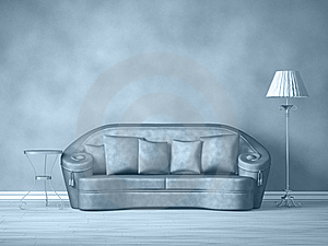 Couch With Table And Standard Lamp Stock Photos - Image: 18086493