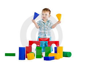 Cute Little Baby Boy With Colorful Building Block Royalty Free Stock Photo - Image: 18086935