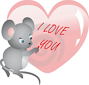 Mouse Writing On Heart. Vector Stock Image - Image: 18087341