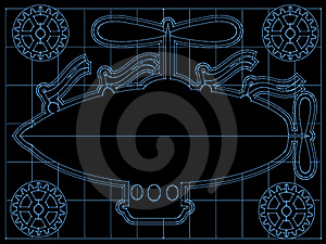 Fantasy Airship Blueprint Gears, Flags Outline On Royalty Free Stock Photos - Image: 18087358