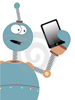Surprised Cartoon Robot Holding Tablet Royalty Free Stock Photos - Image: 18087678