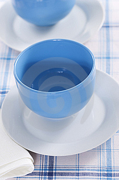 Two Empty Blue Plates For The Soup Stock Image - Image: 18089921