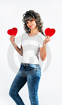 Young Beautiful Girl Keeps The Heart Stock Image - Image: 18095681