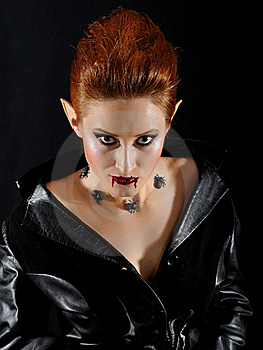 Terrible Vampire Woman With Spiders And Blood Royalty Free Stock Image - Image: 18095856