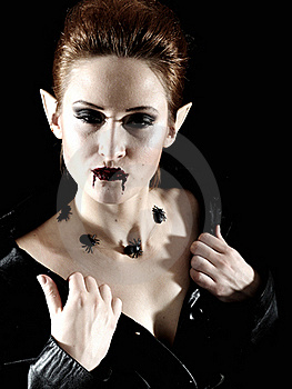 Terrible Vampire Woman With Spiders And Blood Stock Images - Image: 18095874