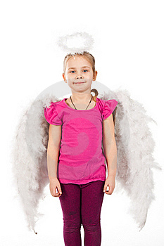 Beautiful Girl In Angel Wings And Nimbus Royalty Free Stock Photography - Image: 18098737
