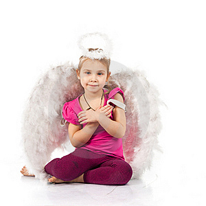 Beautiful Girl In Angel Wings And Nimbus Stock Photo - Image: 18098750