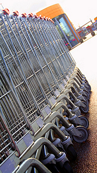 Shopping carts in a row Royalty Free Stock Photos