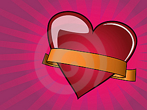 Valentine Day Background With Heart And Ribbon Royalty Free Stock Photo - Image: 18100165