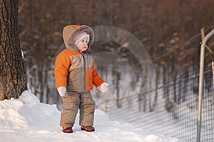 Adorable Baby Stay Near Ski Protection Fence Stock Images - Image: 18100394