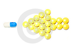 Arrow Of Pills Points To The Capsule Stock Images - Image: 18100574