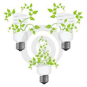 Set Power Saving Lamps Royalty Free Stock Images - Image: 18100699