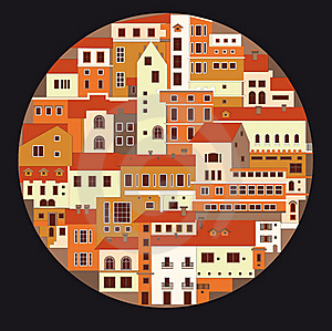 Colourful Town In The Circle Stock Images - Image: 18100714