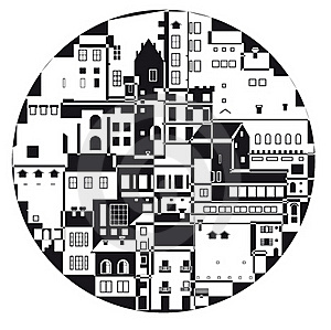 The Monochrome Town In The  Circle Stock Photos - Image: 18100963