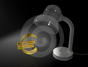 Lamp Illuminate The Gold Euro Symbol Stock Photo - Image: 18101170