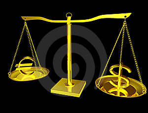 Euro And Dollar On Balance Royalty Free Stock Images - Image: 18101349