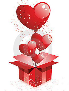 Happy Valentine's Day Gift With Balloons Stock Image - Image: 18102041