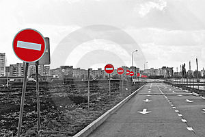 The Road And No Entry Road Signs Stock Photos - Image: 18118513