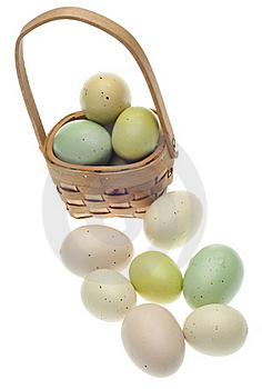 Speckled Easter Eggs In A Basket Isolated Royalty Free Stock Images - Image: 18122219