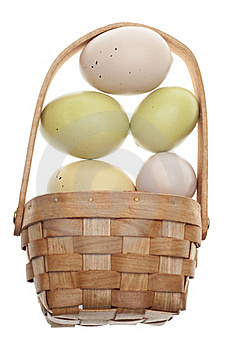 Speckled Easter Eggs In A Basket Isolated Royalty Free Stock Photos - Image: 18122238