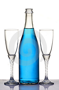 Champagne Bottle And Glasses Royalty Free Stock Image - Image: 18122316