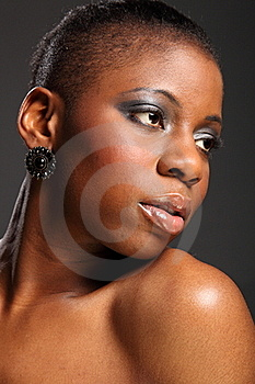Moody Headshot Of Beautiful Black African Woman Royalty Free Stock Photography - Image: 18122457