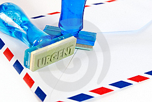 Urgent Stamp On Air Mail Royalty Free Stock Images - Image: 18127269
