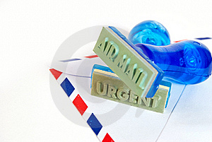 Urgent Stamp On Air Mail Stock Photography - Image: 18127272