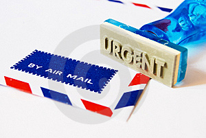 Urgent Stamp On Air Mail Royalty Free Stock Photography - Image: 18127397