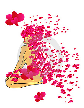 Nude Figure Of Woman With Flowers Form Hearts Royalty Free Stock Photos - Image: 18138528