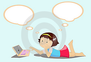 Girls Enjoy Playing With Laptop. Royalty Free Stock Photography - Image: 18143597