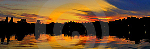 Peaceful Sunset On A Calm Lake Stock Photography - Image: 18151422